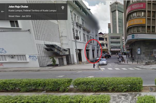 Jalan Raja Chulan 街景-红圈处为会馆入口